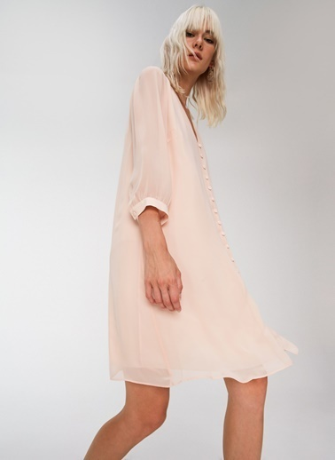 People By Fabrika Düğme Detaylı Şifon Elbise Pudra